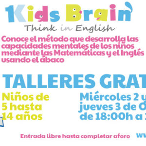 Talleres Gratuitos del método Kids Brain inglés y matemáticas