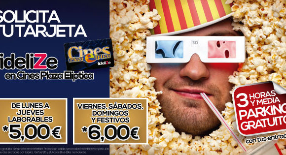 Tarjeta Fidelize de Cines Plaza Elíptica, ¡todo ventajas!