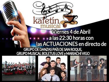 Promoción de la grabación del programa de televisión el Kafetín Musical del 4 de Abril con las actuaciones de:GRUPO DE DANZAS PAÍS DE SAN ROQUE,  GRUPO MUSICAL BOLETUS LOVE y MARIACHI VIGO