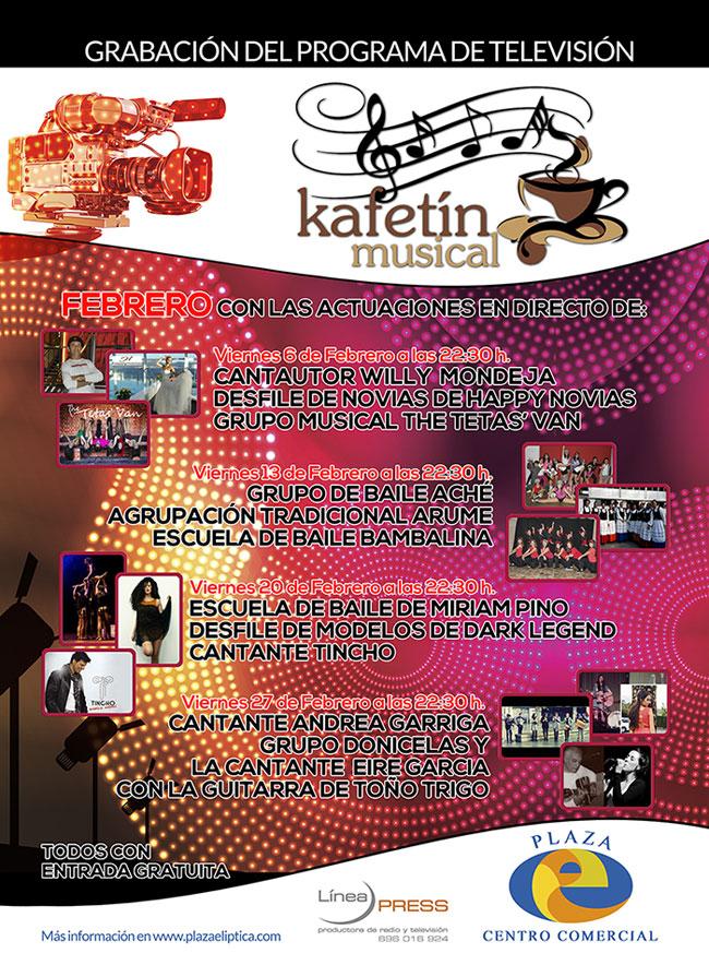 Agenda de El Kafetín Musical de Febrero de 2015 en Plaza Elíptica Centro Comercial de Vigo