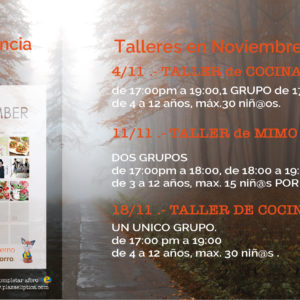 Talleres Experiencia Noviembre, en Plaza Elíptica.!!!