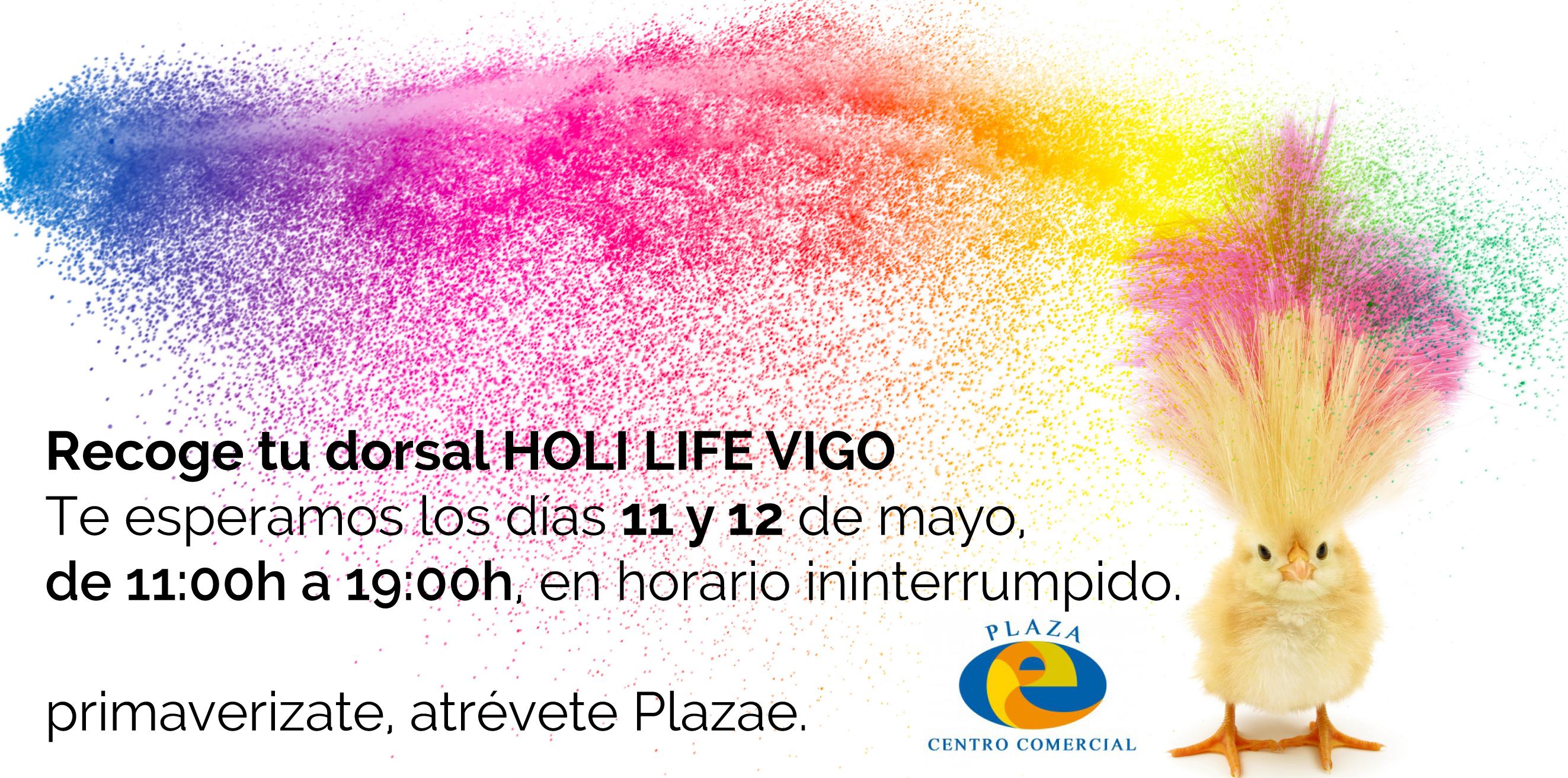 Recoge tu dorsal Holi Life Vigo en Centro Comercial Plaza Eliptica.