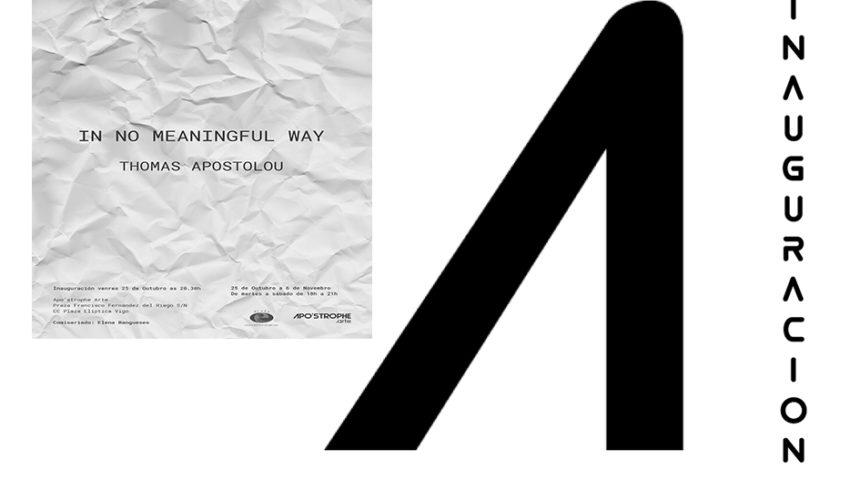 "APO'STROPHE.arte inaugura  ""IN MEANINGFUL WAY (De ninguna manera significativa)»  Thomas Apostolou."