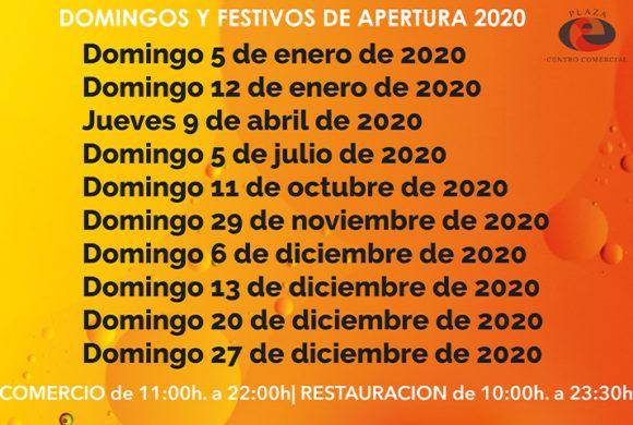 Aperturas especiales año 2020