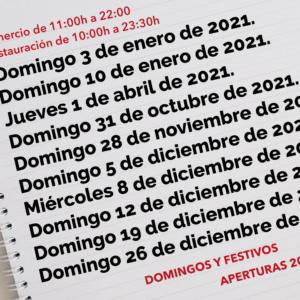 Aperturas especiales año 2021